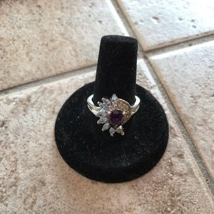 Amethyst with crystals Ring Sterling Silver